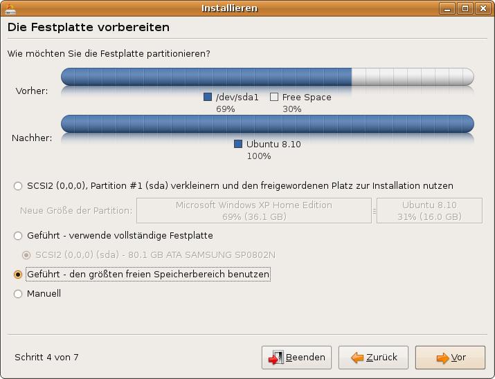 Ubuntu-Installation: den größten freien Speicherbereich benutzen